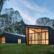 Fiedler Marciano creates artist studios in a forest clearing in Connecticut