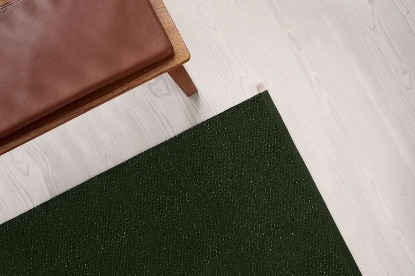 British designer Ilse Crawford was inspired by the natural landscape surrounding the Kasthall factory in Kinna, Västergötland when creating her collection of green rugs for the Swedish textile company.