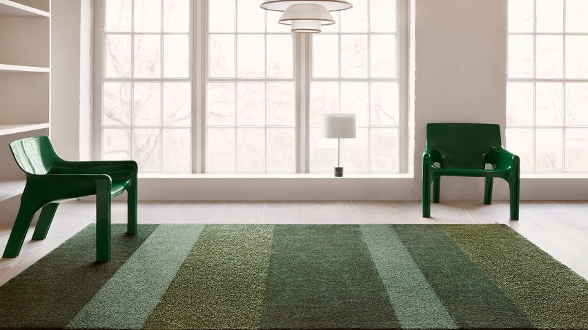 British designer Ilse Crawford was inspired by the natural landscape surroundingthe Kasthall factory in Kinna, Västergötland when creating her collection of green rugs for the Swedish textile company.