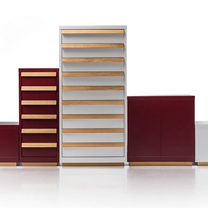 Konstantin Grcic has designed a range of steel furniture using manufacturing techniques more commonly utilised to create industrial storage containers.