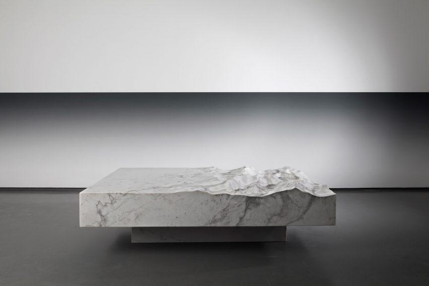Mathieu lehanneur creates marble furniture that mimics the oceans