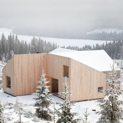 "Mork-Ulnes Architects completes timber-clad house with a ""pinwheel plan"" in a Norwegian forest"