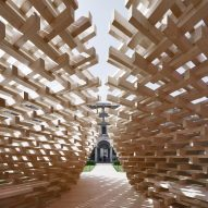 Peter Pichler builds pyramidal pavilion using 1,600 wooden beams