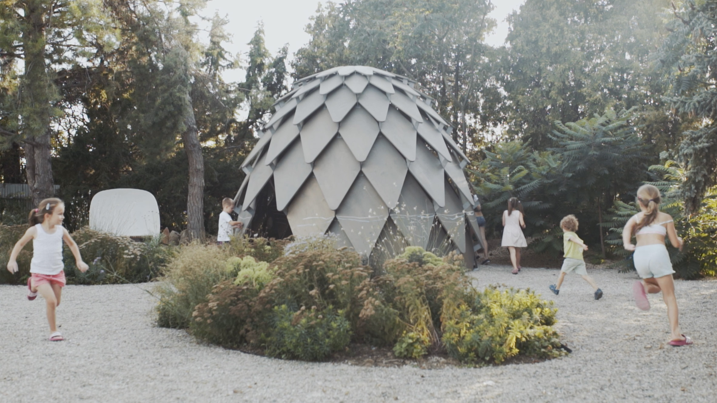 Pinecone-shaped pavilion can be used for outdoor classes and campfires