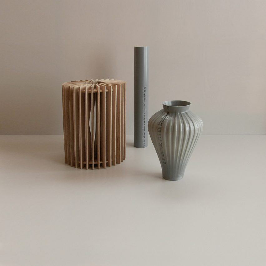 Kodai Iwamoto transforms plastic pipes into flower vases