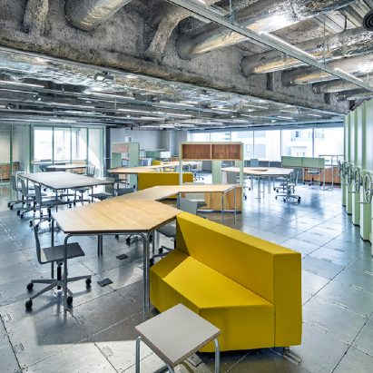 Schemata architects plays with materials and movable furniture at tokyo record label offices