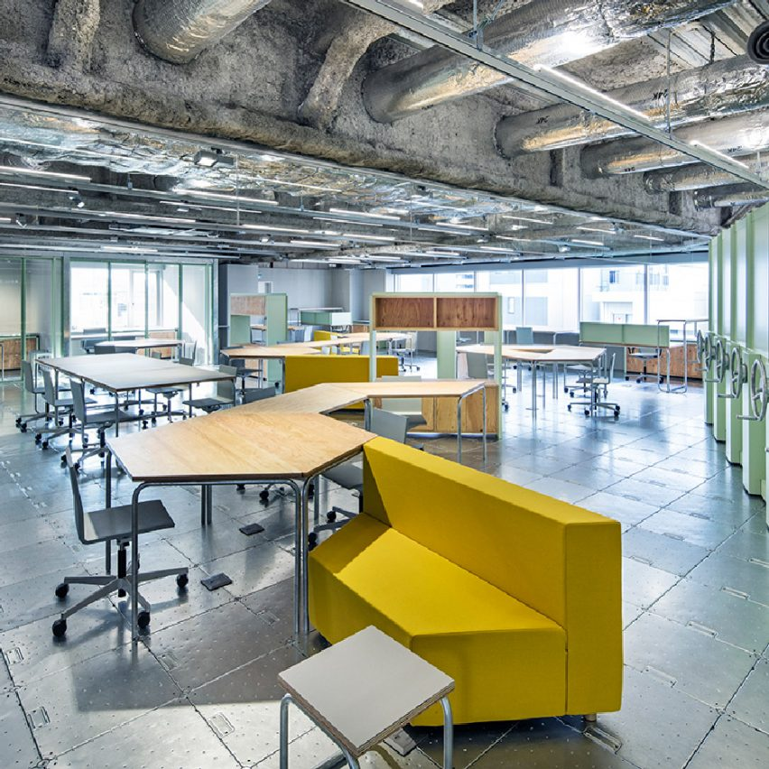 Schemata Architects plays with materials and movable furniture at Tokyo record-label offices