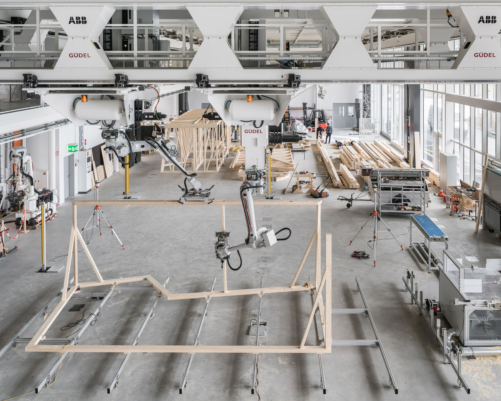 Robots build digitally designed prefabricated timber modules at ETH Zurich