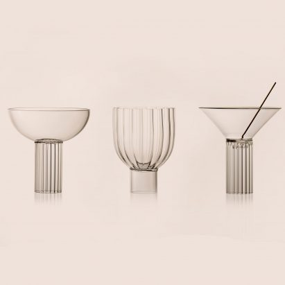 Argentinian designer Agustina Bottoni has created a trio of glassware that recalls the architecture of Milanese landmarks.