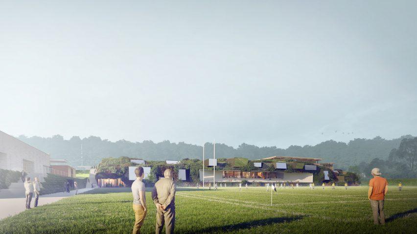 Vegetated stadium in Clamart by SCAU