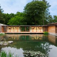 Connecticut Residence by Cutler Anderson straddles a woodland pond