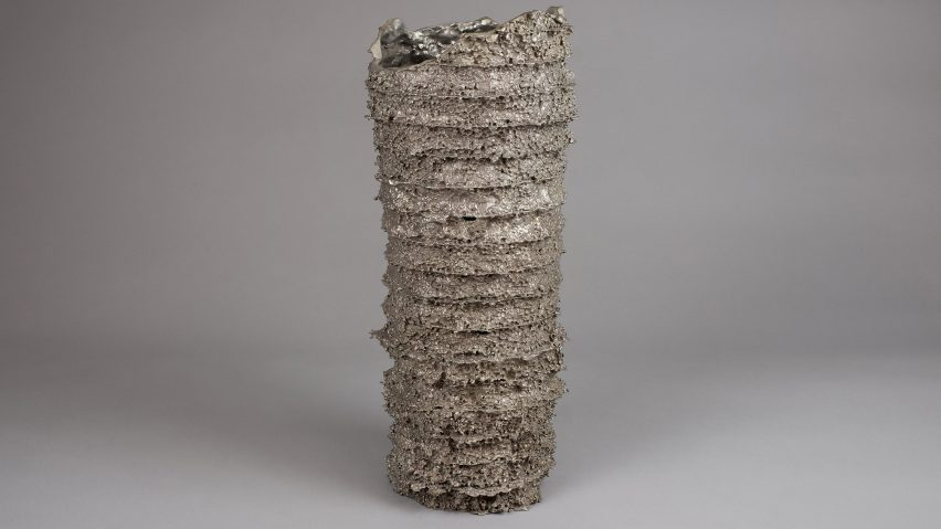 Kris Lamba transforms recycled polystyrene packaging into bronze vessels