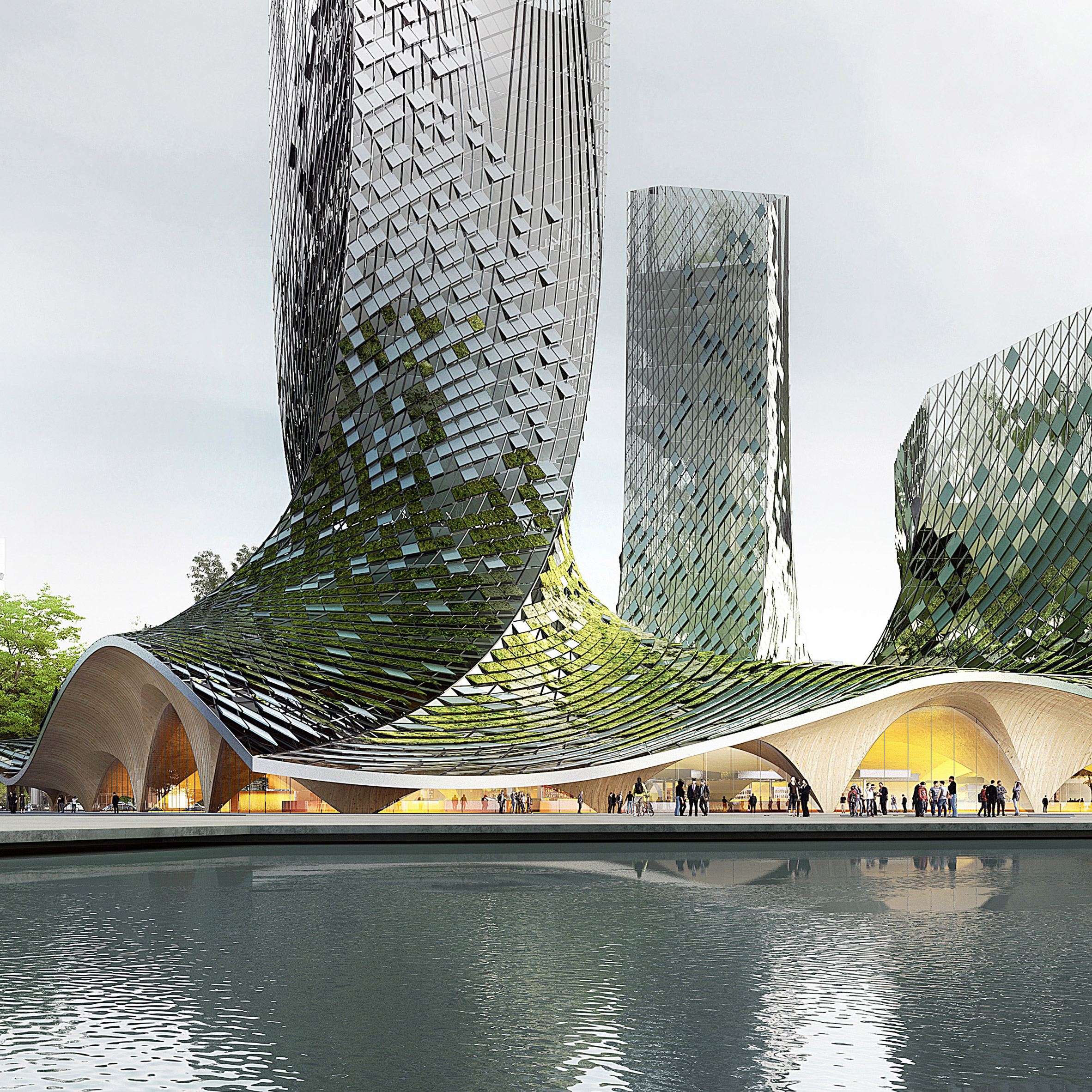3novices xtu architects proposes algae covered towers for hangzhou 3noviceschennai. Black Bedroom Furniture Sets. Home Design Ideas