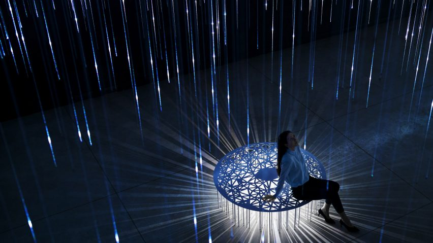Lasers create effects at Lexus' Limitless Co-existence installation in Milan