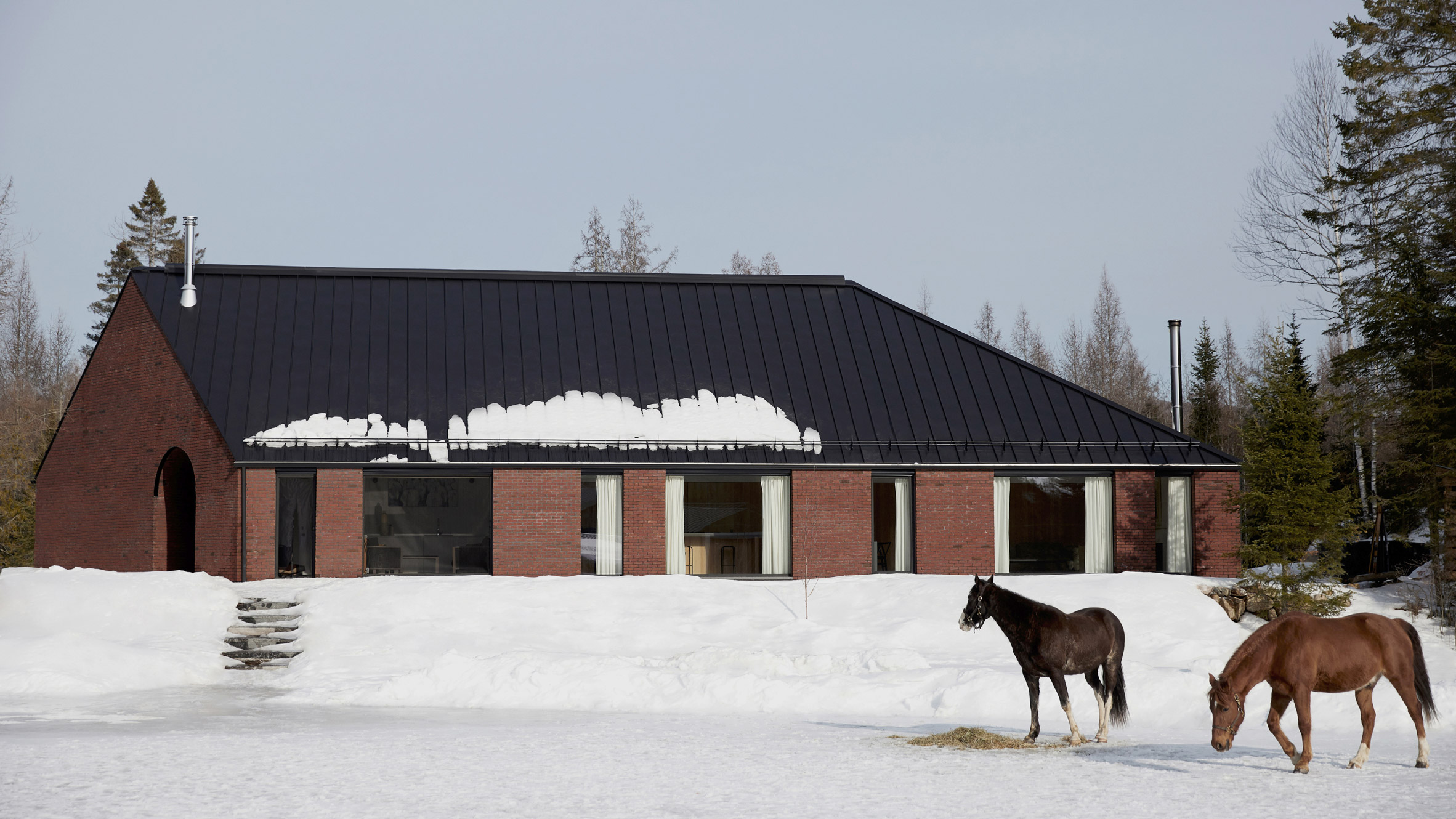 Minimalist art and horse stables influence rural Gauthier Residence by Atelier Barda