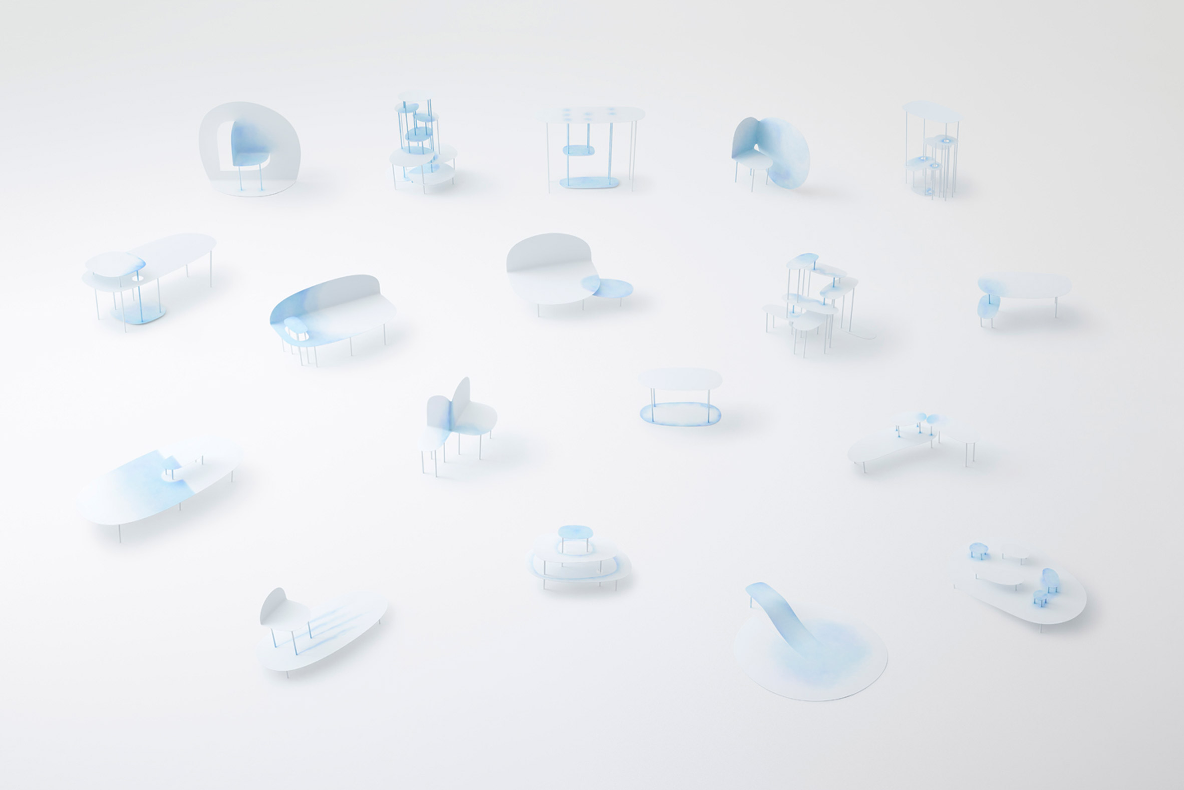 Nendo designs steel furniture to look like watercolour-painted paper