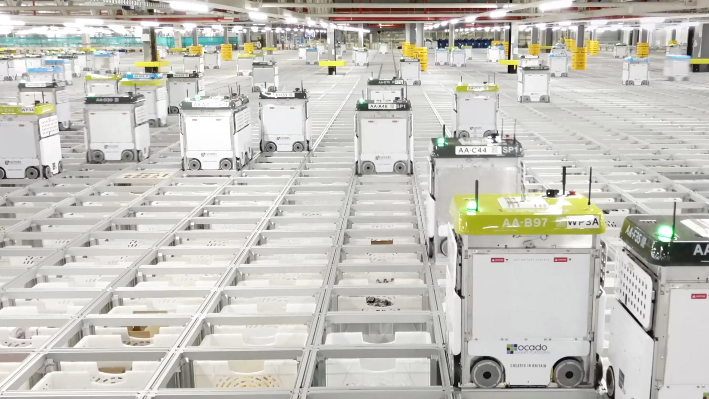Over 1,000 robots pack groceries in Ocado's online shopping