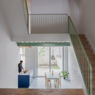 Mamout and AUXAU update Brussels townhouse with mint-green staircase