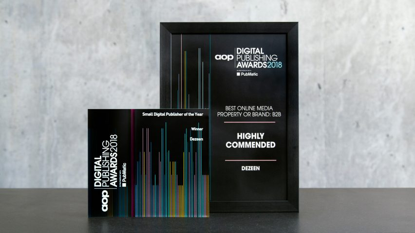 Dezeen named Best Small Digital Publisher of the Year at Digital Publishing Awards