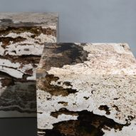 Alcarol and Vaselli create table and stools from travertine encased in resin