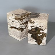 Alcarol makes furniture from eroded slabs of Travertine cast in resin