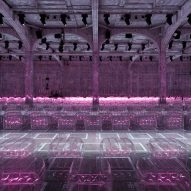AMO arranges neon-lit Prada catwalk show on strict grid