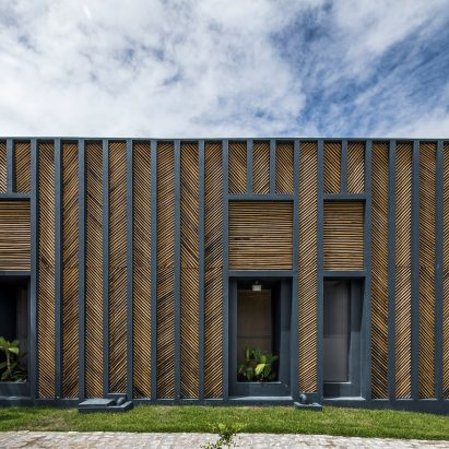 Vilela Florez Designs Bamboo House With Chevron Patterned Exterior In Rural  Brazil