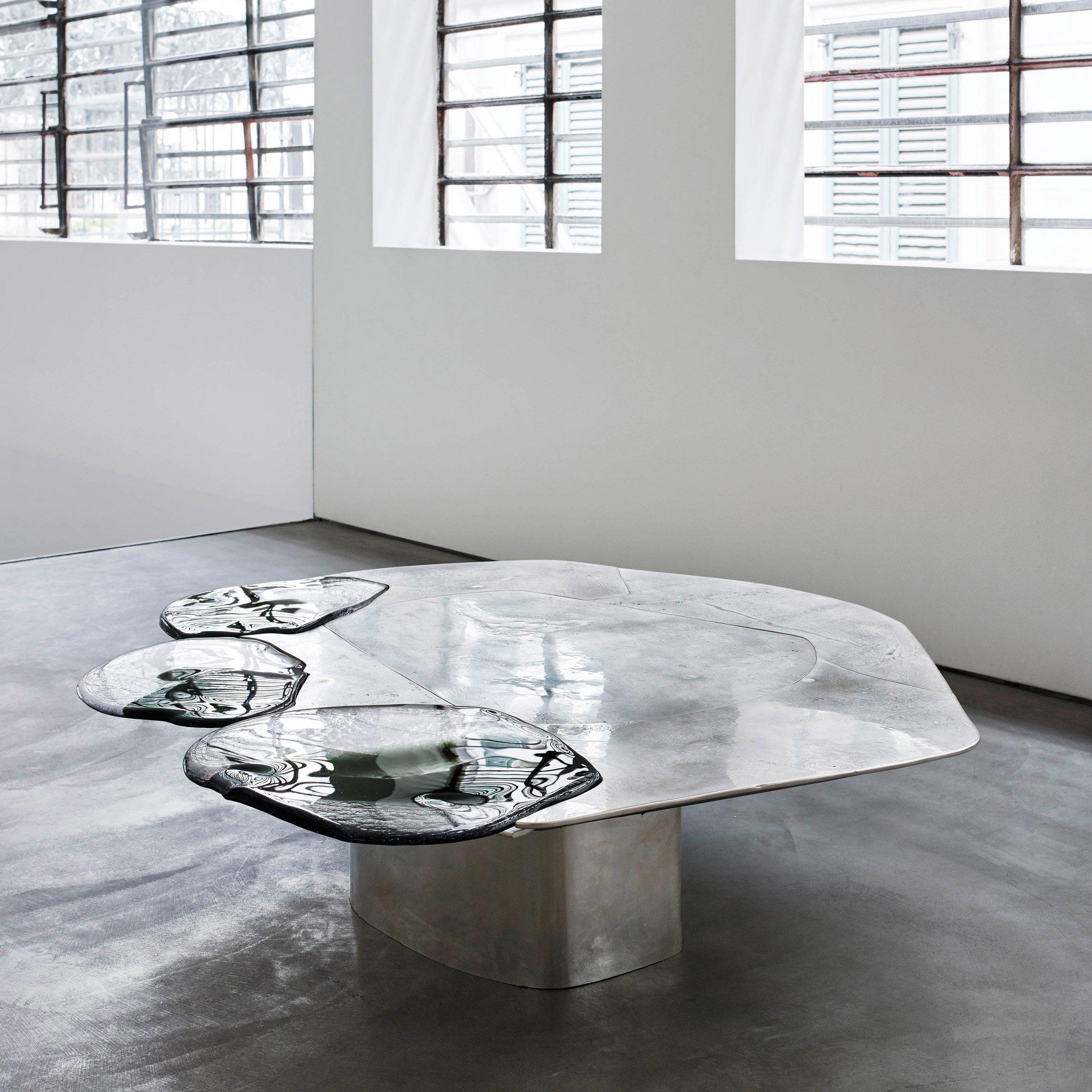 Pools of metal and glass form vincenzo de cotiis baroquisme furniture
