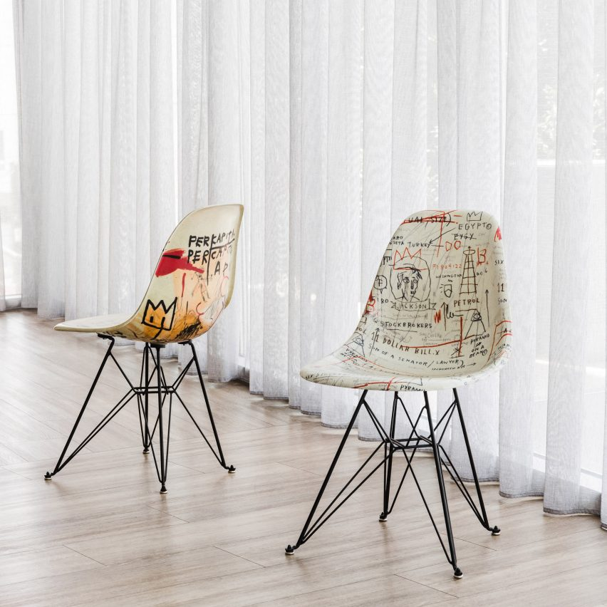 Artists create images for Modernica's Case Study chairs