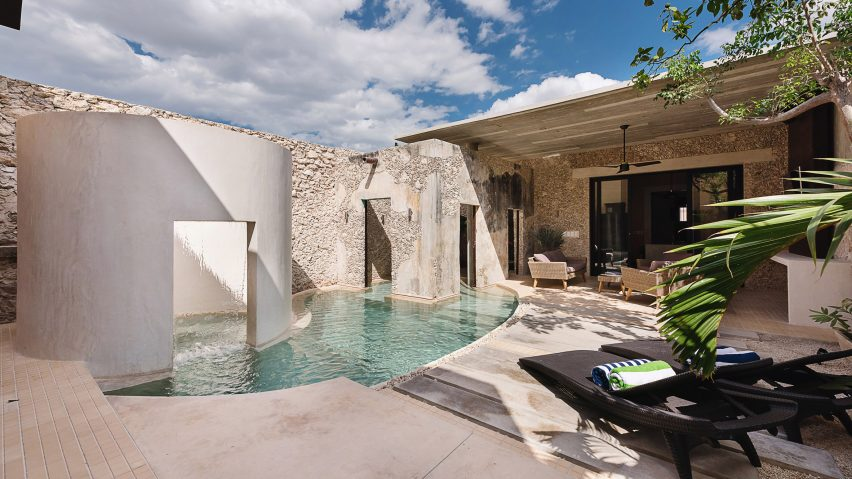 Swimming Pool Flows Between Courtyard Walls Of Mexicos Casa Xólotl