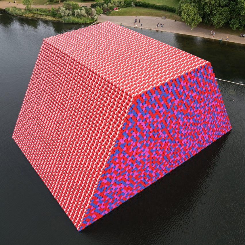 Dezeen's top 10 installations of 2018: TheLondon Mastaba, UK, by Christo