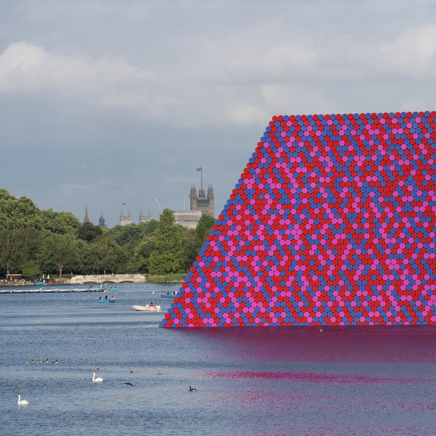 Dezeen's top 10 controversial stories of 2018: Christo unveils floating Serpentine sculpture made from 7,506 barrels