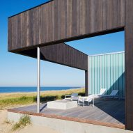 John Ronan's charred wood Courtyard House frames views of Lake Michigan