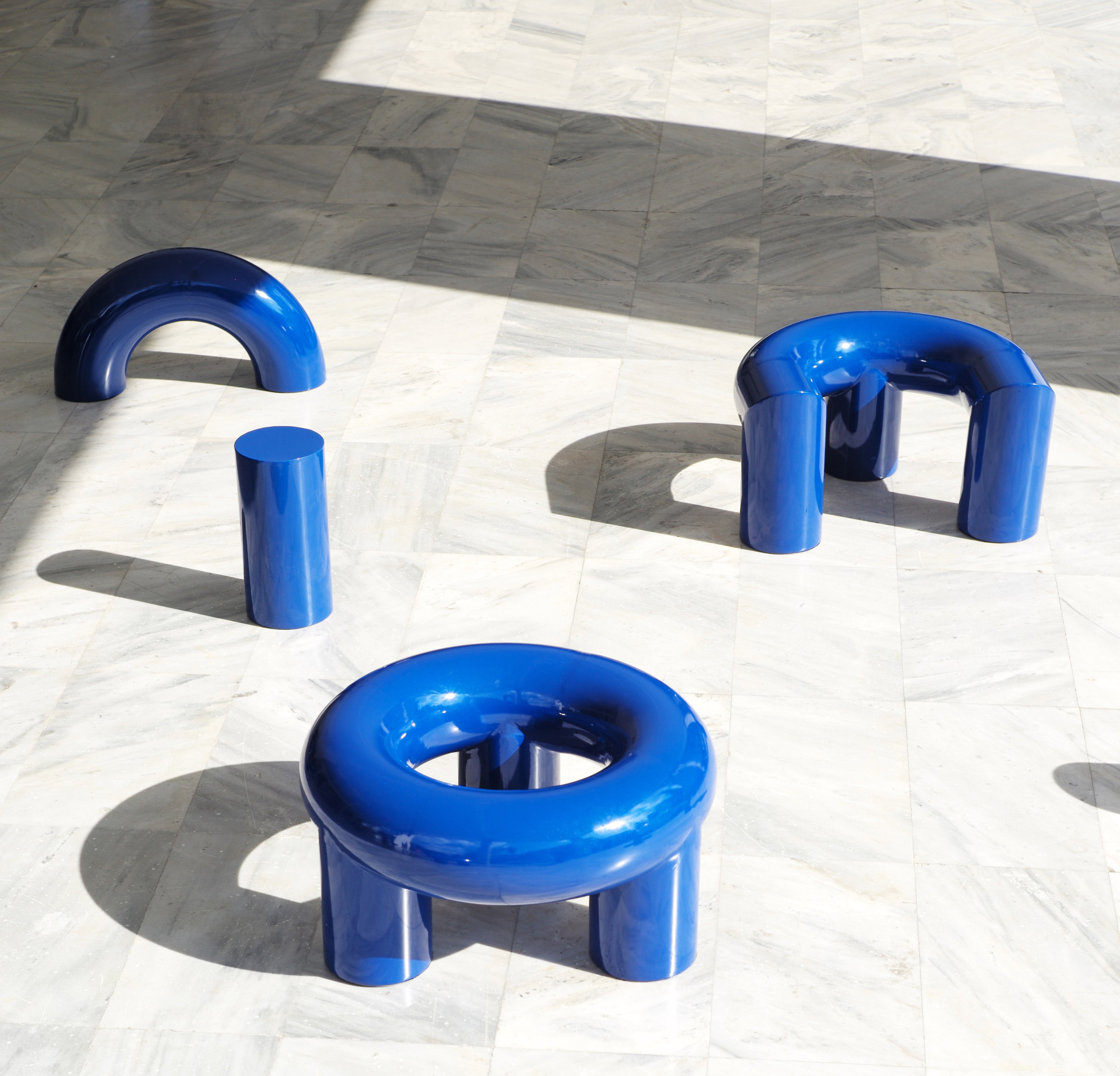 Objects of Common Interest installs tubular Formation seats on Athens Conservatoire patio