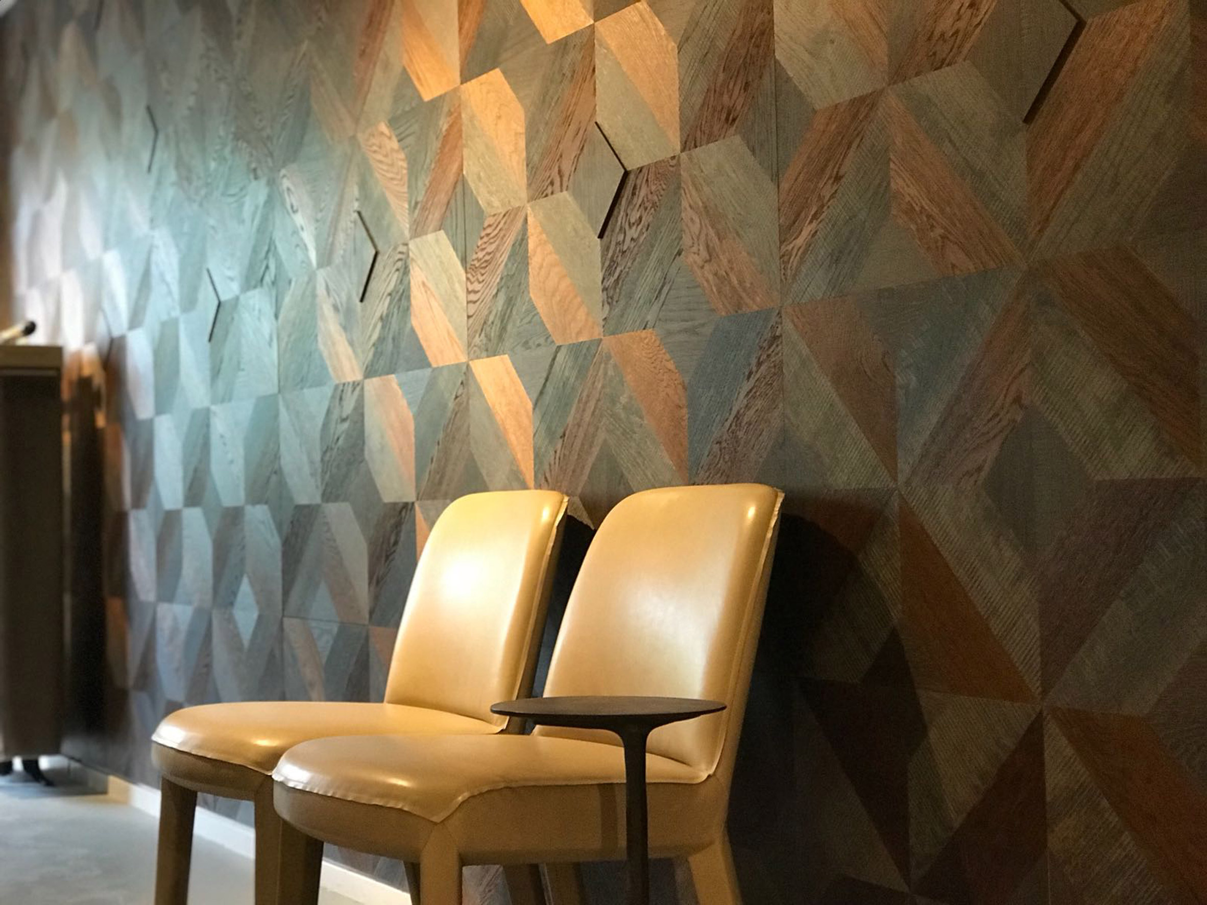 Hakwood's geometric tiles can be used to create patterned feature walls