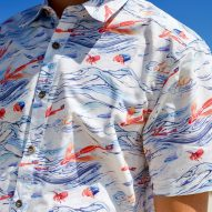 Waste plastic details on Hawaiian shirt highlights issue of ocean plastic