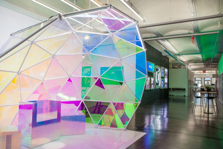 Instagram's new Manhattan office features a partial geodesic dome made of dichroic glass