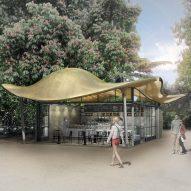 Mizzi Studio to build cafe with undulating metallic canopy opposite Serpentine Gallery