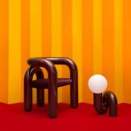 Jumbo designs tubular steel chair and matching lamps