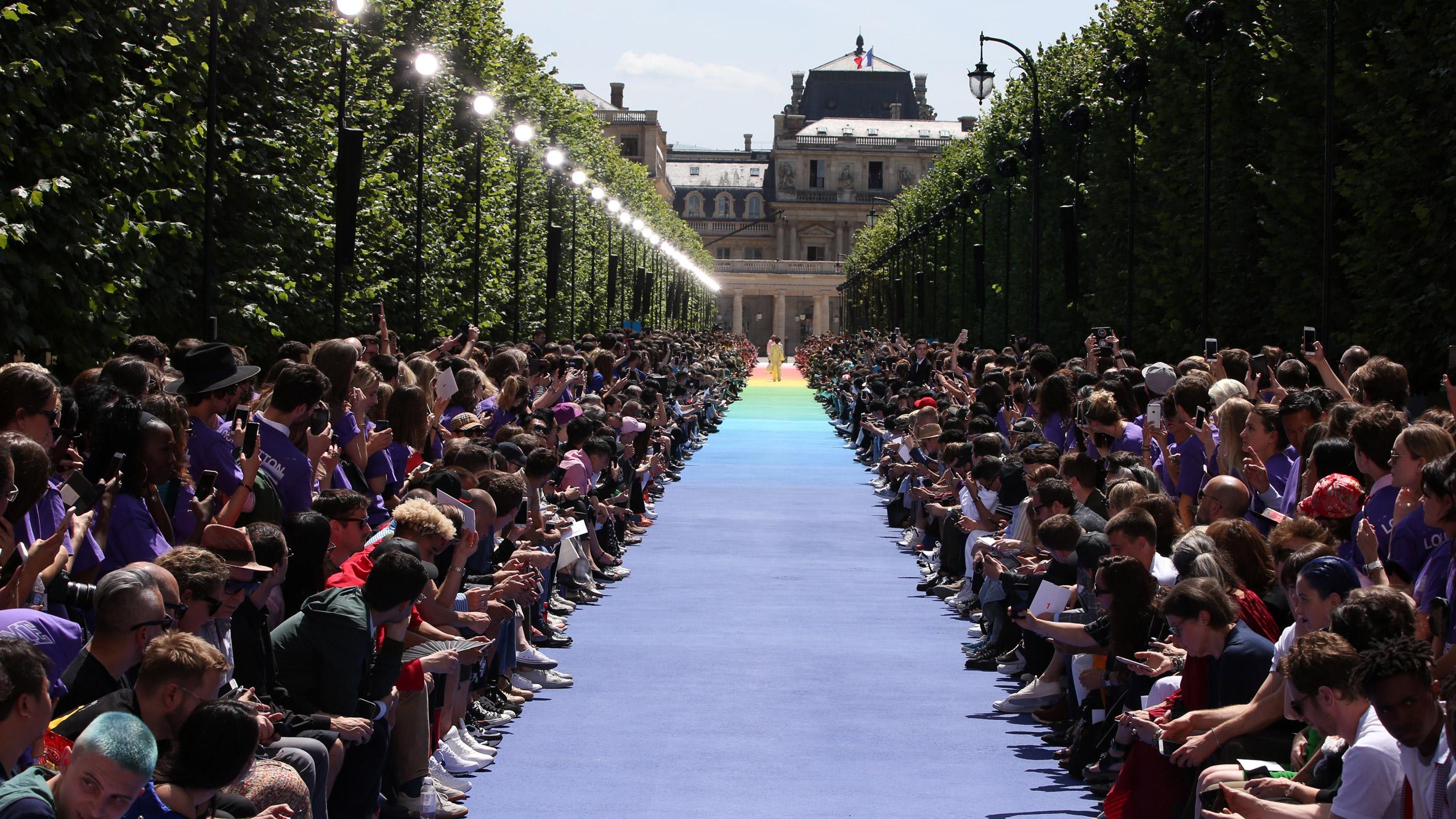 7f0768142040 Virgil Abloh makes debut for Louis Vuitton on rainbow runway in Paris