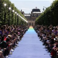 Virgil Abloh makes debut for Louis Vuitton on rainbow runway in Paris