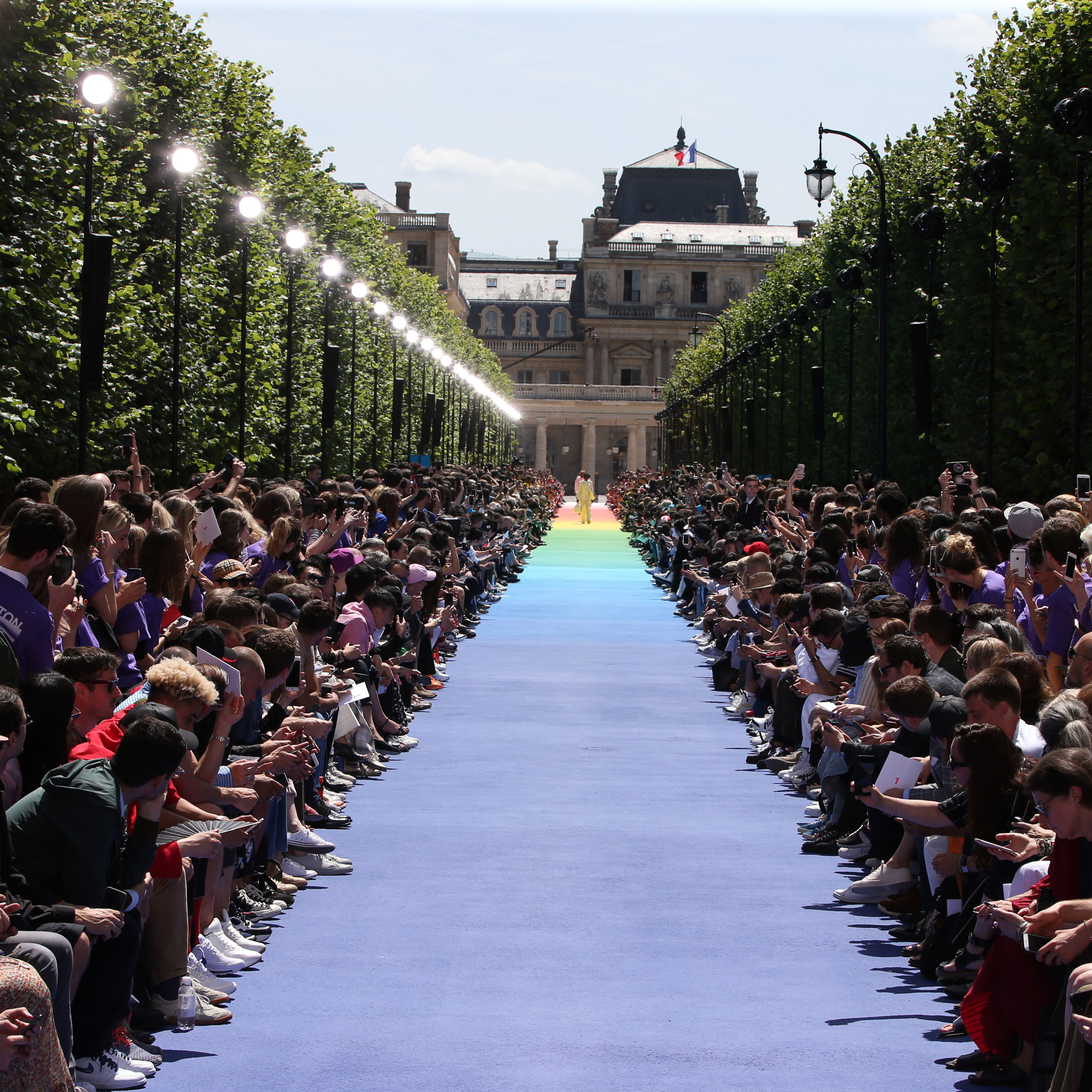 Virgil Abloh makes debut for Louis Vuitton at Paris with rainbow runway