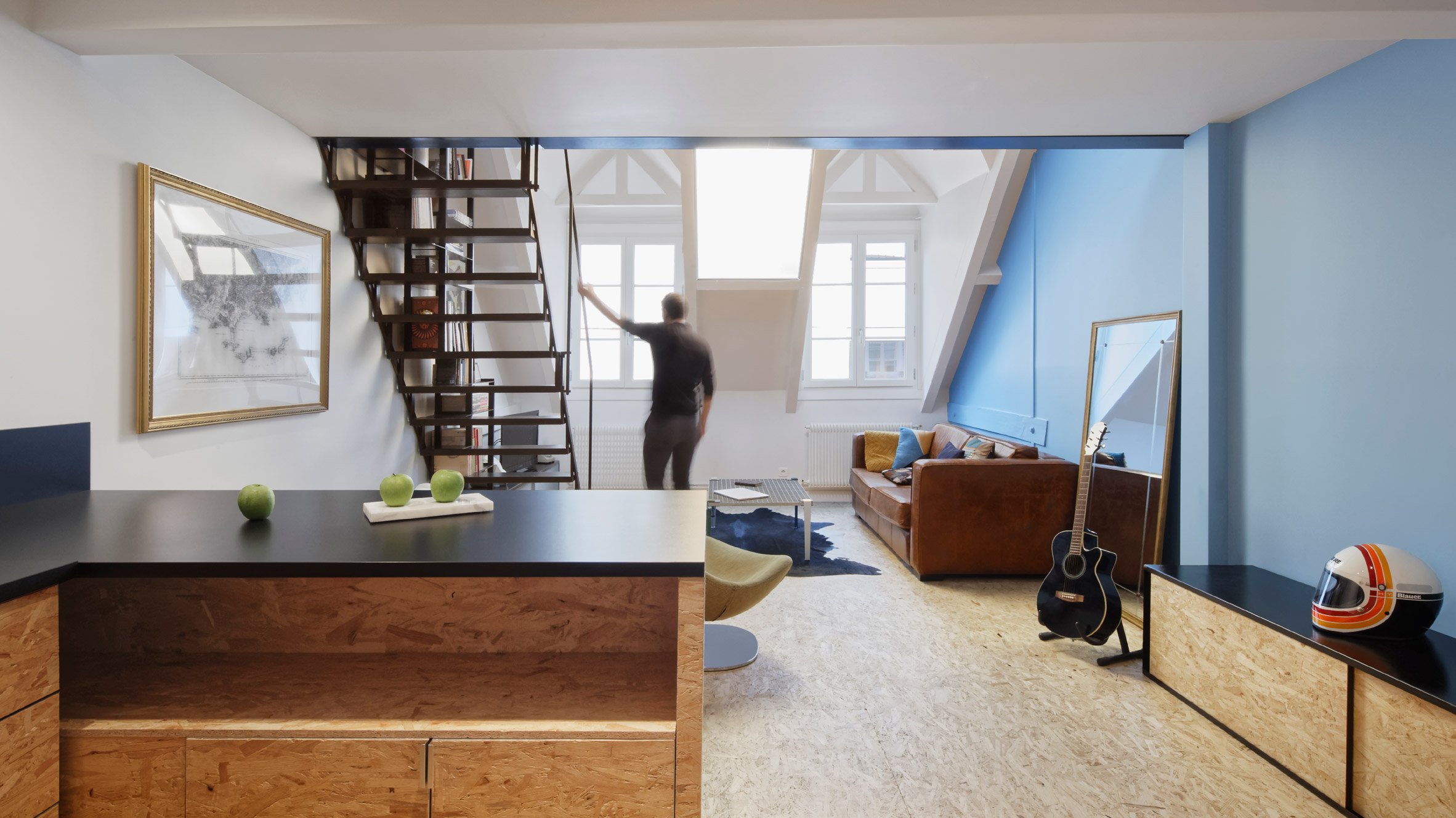 Attic Flat Revamped By Florent Chagny Architecture With Industrial Materials