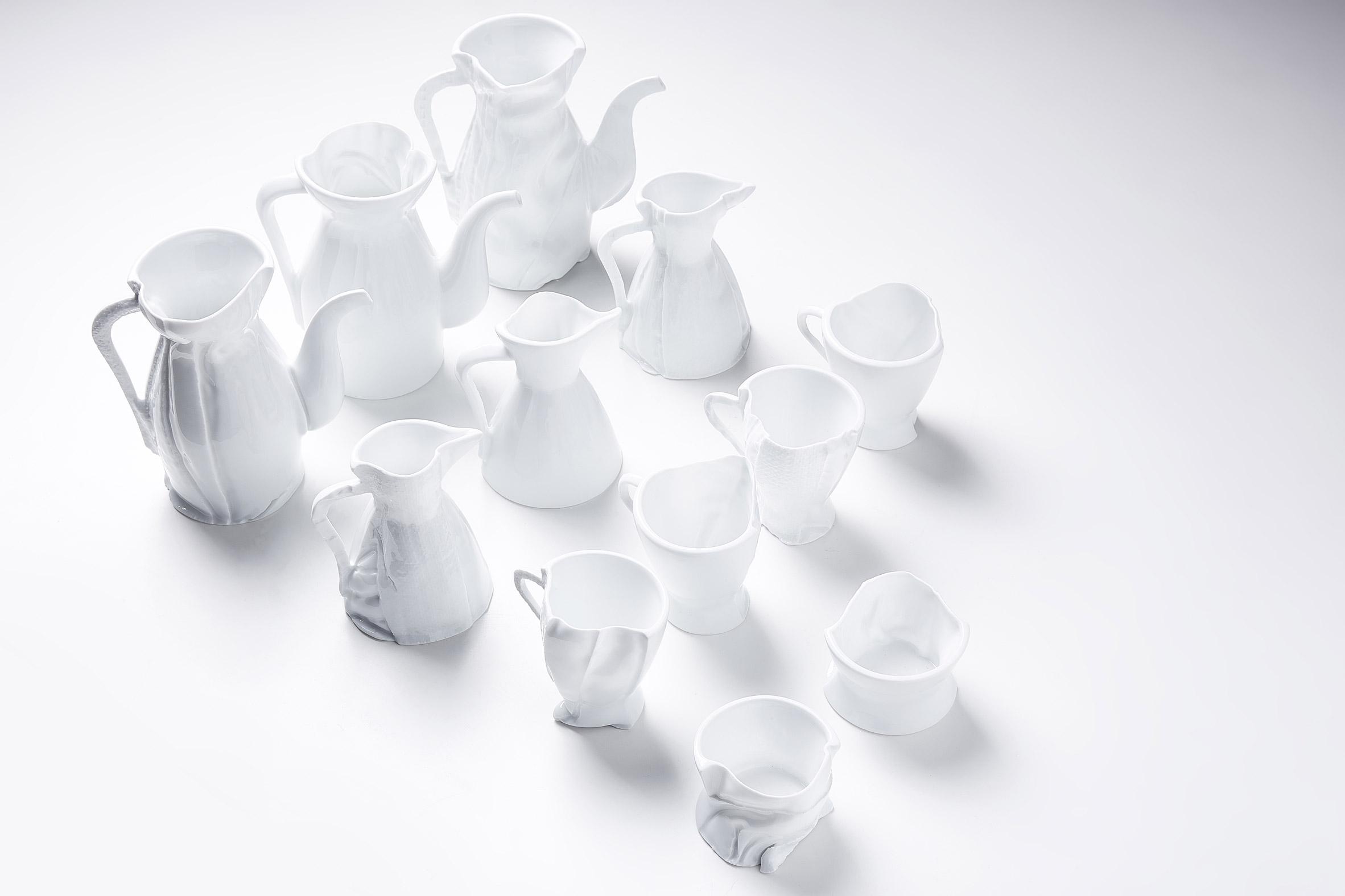 "Zhekai Zhang creates ""imperfect"" ceramics using fabric moulds"