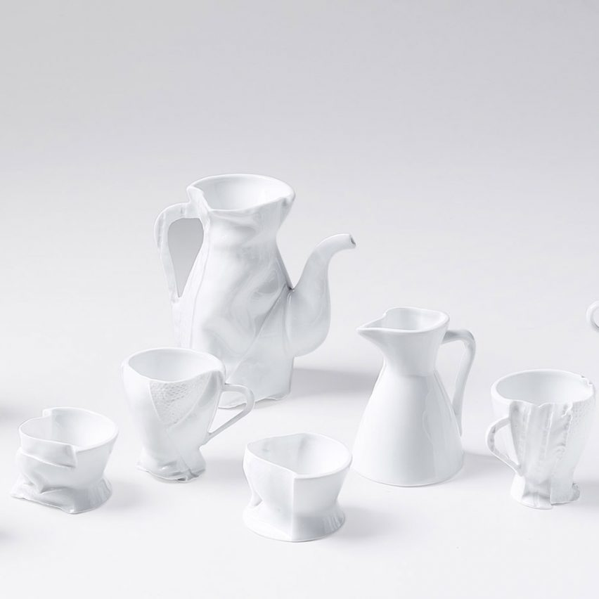 "Zhekai Zhang's creates ""imperfect"" ceramics using fabric moulds"