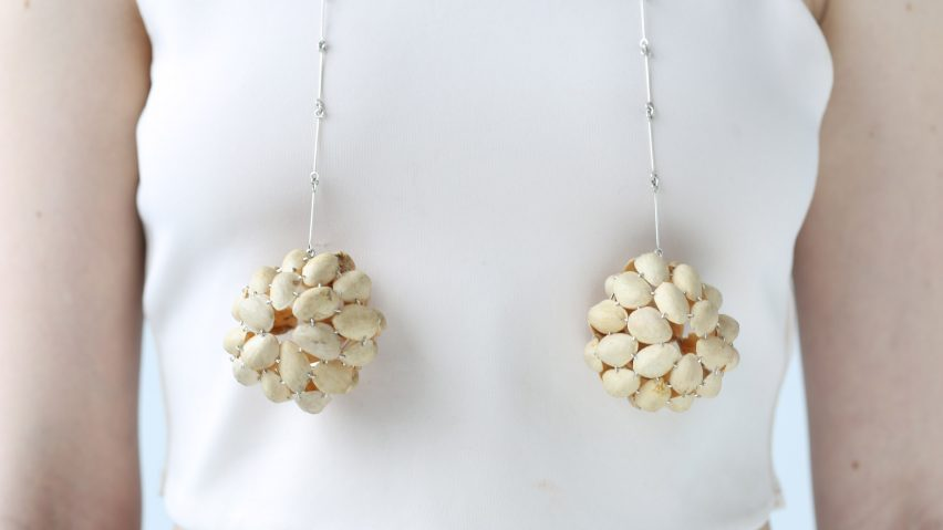 Belle Smith makes jewellery from discarded pistachio shells