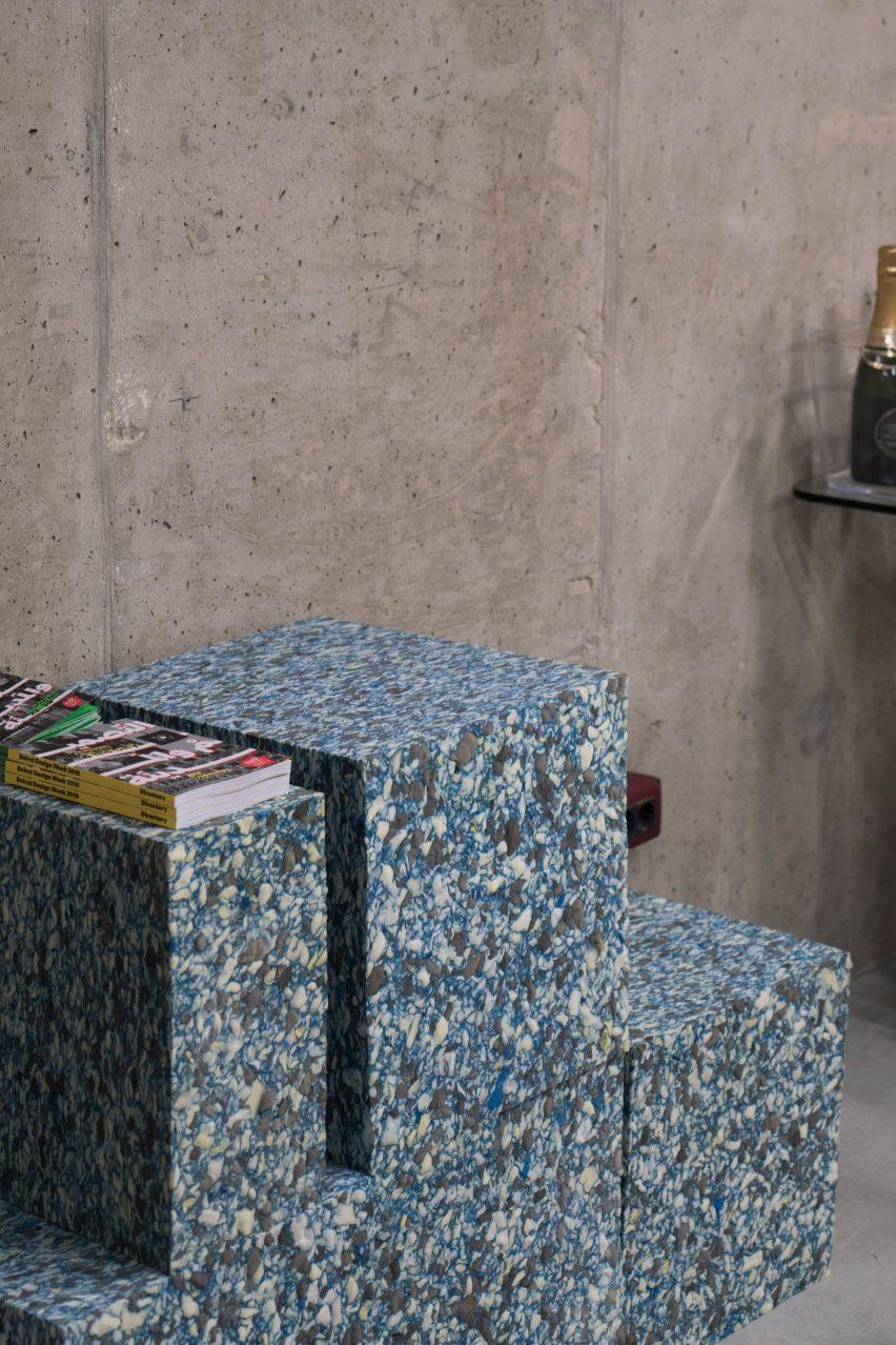 Geometric foam blocks mimic marble and terrazzo at Beirut