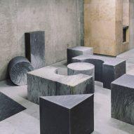 Geometric foam blocks mimic marble and terrazzo at Beirut Design Week