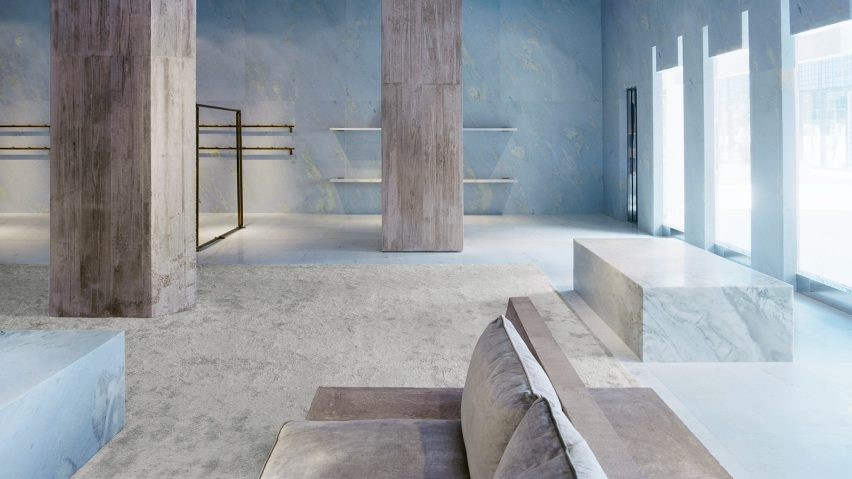 fabric interiors top ny interior designers Valerio Olgiati uses sky blue marble for interiors of Céline store in Miami