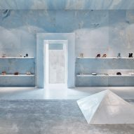 Valerio Olgiati uses sky blue marble for interiors of Céline store in Miami